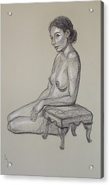 Seated Nude 3 Acrylic Print by Donelli  DiMaria