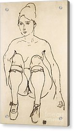Seated Nude With Shoes And Stockings Acrylic Print by Egon Schiele