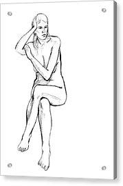 Seated Nude Woman Acrylic Print by Adam Long