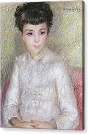 Seated Portrait Of A Young Girl With Brown Hair Acrylic Print by Pierre Auguste Renoir