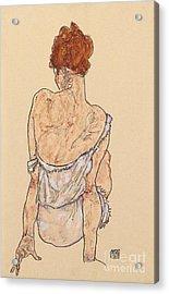 Seated Woman In Underwear Acrylic Print by Egon Schiele
