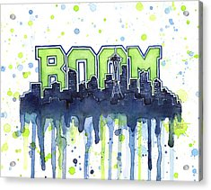 Seattle 12th Man Legion Of Boom Watercolor Acrylic Print