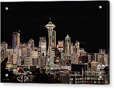 Seattle A Glow Acrylic Print by Larry Keahey