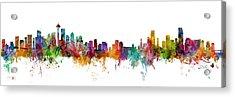 Seattle And Miami Skylines Mashup Acrylic Print
