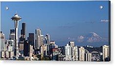 Seattle And Mt Rainier Acrylic Print by Ed Clark