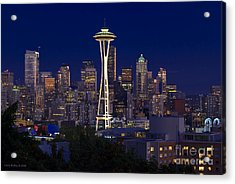 Seattle At Night Acrylic Print by Larry Keahey