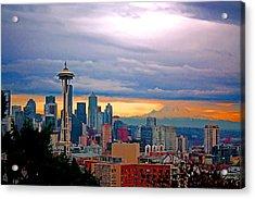 Seattle At Sunset Acrylic Print