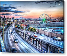 Seattle At Twilight Acrylic Print by Spencer McDonald