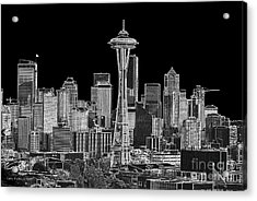 Seattle Black And White Acrylic Print by Larry Keahey