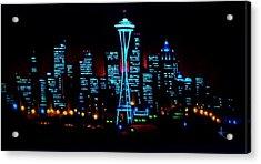 Seattle By Black Light Acrylic Print