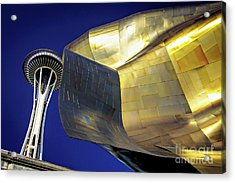 Seattle Center Needle And Museum Acrylic Print by Joan McCool