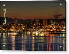 Seattle Downtown Skyline From Alki Beach Dawn Acrylic Print by David Gn Photography
