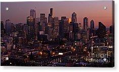 Seattle Dusk Acrylic Print by Mike Reid