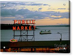 Seattle Ferry At Dusk Acrylic Print by Ed Rooney