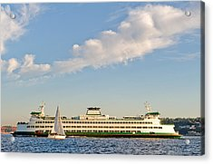 Seattle Ferry Boat Acrylic Print by Tom Dowd