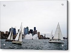 Seattle Fire Boat Sailing Acrylic Print by Tom Dowd