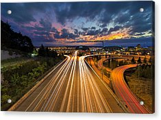 Seattle Freeway Light Trails Acrylic Print by David Gn