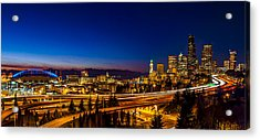 Seattle From The Jose Rizal Bridge Acrylic Print by Pelo Blanco Photo