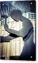 Acrylic Print featuring the photograph Seattle Hammering Man by Spencer McDonald