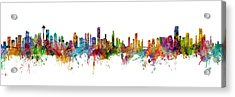 Seattle, Honolulu And Miami Skylines Mashup Acrylic Print