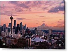 Seattle In Pink Acrylic Print by Aaron Eakin