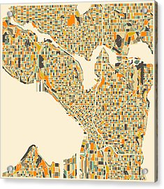 Seattle Map Acrylic Print by Jazzberry Blue