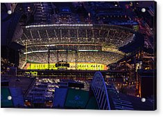 Seattle Mariners Safeco Field Night Game Acrylic Print by Mike Reid