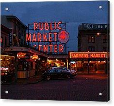 Seattle Public Market Acrylic Print by Sonja Anderson