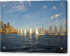 Seattle Sailboat Race Acrylic Print by Tom Dowd