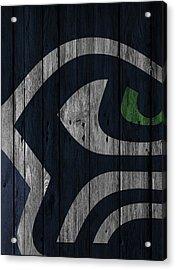 Seattle Seahawks Wood Fence Acrylic Print