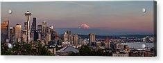 Acrylic Print featuring the photograph Seattle Skyline And Mt. Rainier Panoramic Hd by Adam Romanowicz