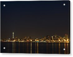 Seattle Skyline At Night Acrylic Print by Stacey Lynn Payne