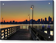 Seattle Skyline From The Alki Beach Seacrest Park Acrylic Print by David Gn Photography