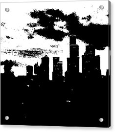 Seattle Skyline In B&w #enlight Acrylic Print