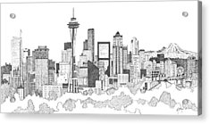 Seattle Skyline Ink Drawing Acrylic Print