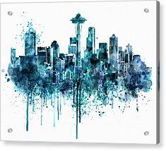 Seattle Skyline Monochrome Watercolor Acrylic Print by Marian Voicu