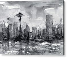 Seattle Skyline Painting Watercolor  Acrylic Print by Olga Shvartsur