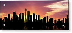 Seattle Skyline Panorama Sunset Acrylic Print