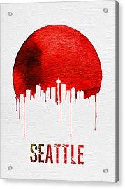 Seattle Skyline Red Acrylic Print by Naxart Studio