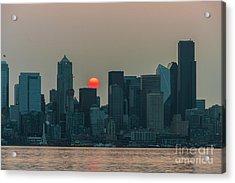 Seattle Skyline Red Sunrise Acrylic Print