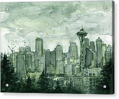 Seattle Skyline Watercolor Space Needle Acrylic Print by Olga Shvartsur
