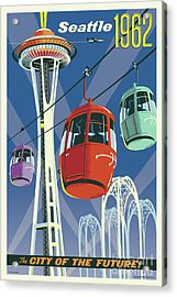 Seattle Poster- Space Needle Vintage Style Acrylic Print
