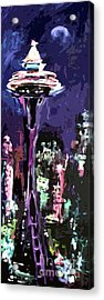 Acrylic Print featuring the painting Seattle Space Needle At Night  by Ginette Callaway