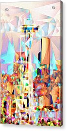 Acrylic Print featuring the photograph Seattle Space Needle In Abstract Cubism 20170327 by Wingsdomain Art and Photography