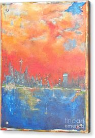 Seattle Sunset Acrylic Print by Chaline Ouellet