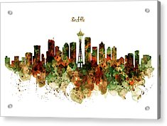 Acrylic Print featuring the mixed media Seattle Watercolor Skyline Poster by Marian Voicu