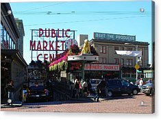 Seattle's Pike Place Market Center  Acrylic Print by Candace Garcia