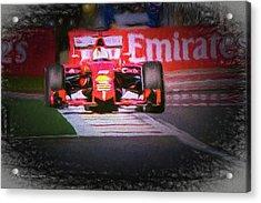 Sebastian Vettel's Ferrari Acrylic Print by Marvin Spates
