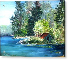 Acrylic Print featuring the painting Secluded Boathouse-millsite Lake  by Jan Byington