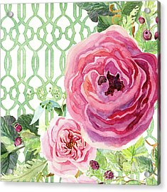 Acrylic Print featuring the painting Secret Garden 3 - Pink English Roses With Woodsy Fern, Wild Berries, Hops And Trellis by Audrey Jeanne Roberts